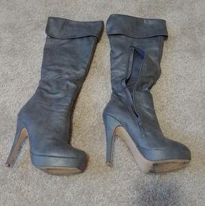 Hugh-01 Fahrenheit Stiletto Heel Boots US 5.5 Grey